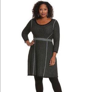 Lane Bryant Black Silver Perforated Sweater Dress